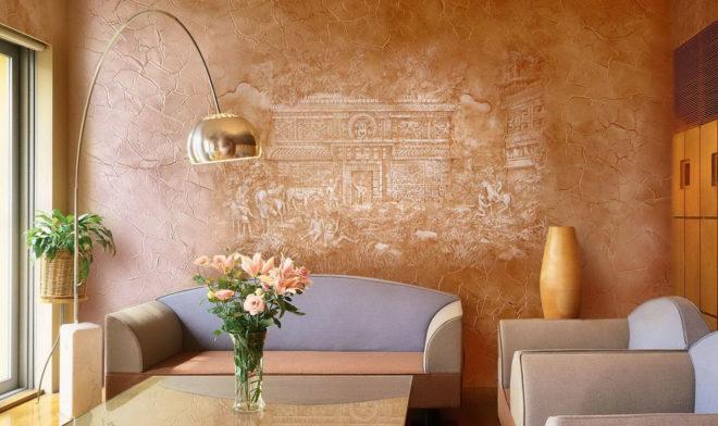 Декоративная штукатурка для внутренней отделки стен применение